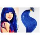 Modré - Blue Clip in vlasy 90 - 130 gram